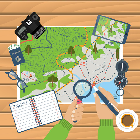 hiking trail: Man at table with map and tourist equipment plan to travel. Trip plan vector, travel guide. Hiking map, trail. Time for travel and adventure. Camera, map, compass, gps. Banner template. Flat design
