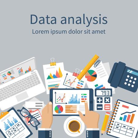 Tablet in handen zakenman, statistische datawith grafieken en diagrammen. documenten Werkplaats voor financiële analyses, statistieken, rapportage, strategie-ontwikkeling. Vector, platte design. Statistieken-concept Vector Illustratie
