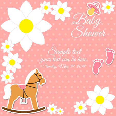 rocking horse: Baby shower girl, invitation card. Place for text.  Greeting cards. Vector illustration. Rocking horse, pacifier, childrens footprints, flowers.