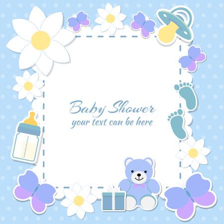 Ducha del bebé, tarjeta de invitación. El lugar de texto. tarjetas de felicitación. Ilustración del vector. Oso de peluche con una caja de regalo, fondo azul, flores.