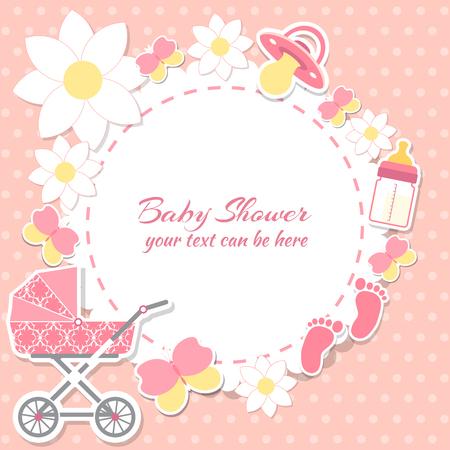 Niña de la ducha del bebé, tarjeta de invitación. El lugar de texto. tarjetas de felicitación. Ilustración del vector. Foto de archivo - 54109557