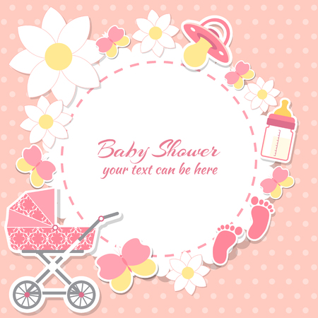 Baby shower girl, invitation card. Place for text.  Greeting cards. Vector illustration. Illustration