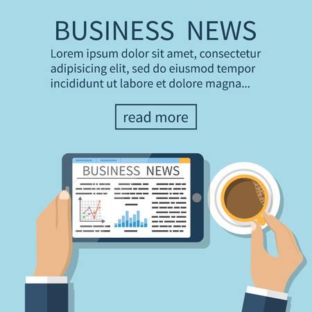 reading news: Businessman reading news and drinking coffee. Business news on tablet. Template banner. Vector illustration in flat design style. Illustration