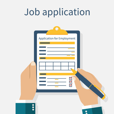 job application: Man with clipboard in his hand fills in the form of employment. Job application form. Write documents. Vector illustration in flat design style. Application for employment.