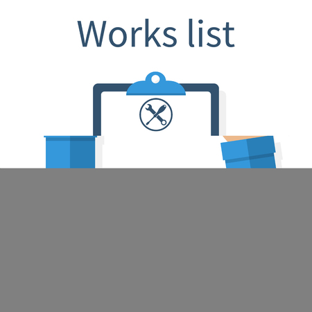 Technician with clipboard. Mechanic holding notebook in hand, write to clipboard. List of works. Clipboard, pen repair icon. Checklist. Empty blank, paper. To do list. Vector illustration, flat design Vectores