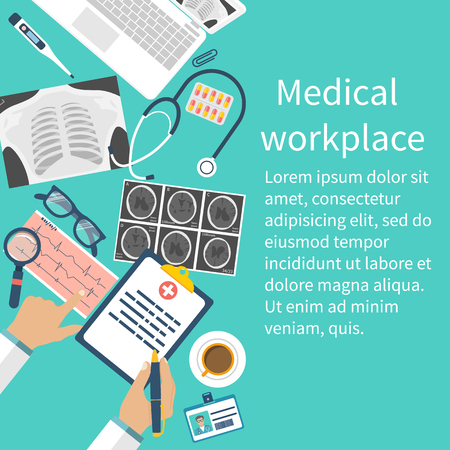 ct scan: Medical workplace. Flat design vector. Medical concept. Doctor at table examines documents, diagnosticate, writes a prescription. Medical background. Space for text.