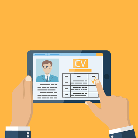 estimates: Employer on the tablet looking resume. Job interview concept. Businessman estimates cv. Vector illustration in flat design. Human resources.
