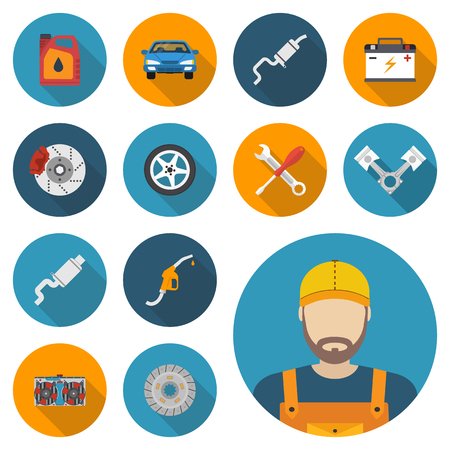 car mechanic: Car parts. Set icons auto spare parts for repairs. Vector illustration. Engine, wheel, piston, brake, battery, cooling, absorber, exhaust, radiator, refueling nozzle, oil canister. Icon mechanic. Illustration