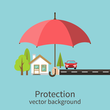 Concept of security of property, flat design. Agent holding umbrella over house. Insurance home, car, money. Vector illustration. Çizim