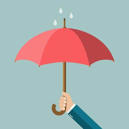 La mano del hombre que sostiene un paraguas. ilustración vectorial