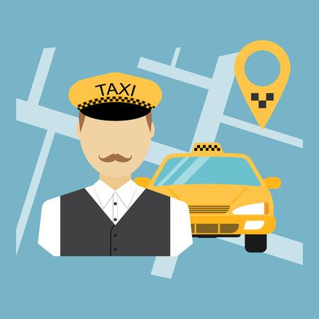 Taxi driver, taxi service, cab, taxi cab, cab driver, taxi cab driver. Flat design, vector illustration