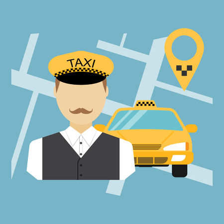yellow car: Taxi driver, taxi service, cab, taxi cab, cab driver, taxi cab driver. Flat design, vector illustration