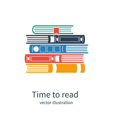 Stack of books. Time to read. Vector  illustration Иллюстрация