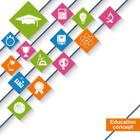 onderwijs: Onderwijs en wetenschap concept. Abstracte onderwijs achtergrond met pictogrammen en symbolen. vector illustratie