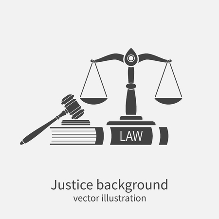 gerechtigkeit: Symbol von Recht und Gerechtigkeit. Konzept Recht und Gerechtigkeit. Waage der Gerechtigkeit, Hammer und Buch. Vektor-Illustration. Kann als Logo Legalität verwendet werden. Illustration