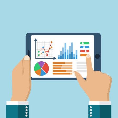 reviewing: The tablet in the hands of a businessman with statistical data presented in the form of digital graphs and charts. Financial analysis, statistics. Vector illustration, flat design. Statistics concept.