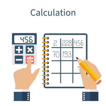 Berekening concept. Zakenman, accountant. Plat design, Vector Illustratie. Financiële berekeningen, het tellen van de winst, inkomen, belastingen, statistieken, data-analyse, planning, rapport.