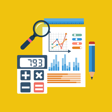 Financial chart on piece of paper, calculator, pencil, ruler, magnifier. Accounting infographic. Financial planning. Financial accounting concept. Flat Style. Vector illustration.