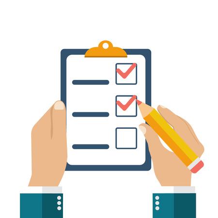 Zakenman die checklist en potlood. Vragenlijst, onderzoek, klembord, takenlijst. Icoon vlakke stijl vector illustratie. Het invullen van formulieren, planning Stock Illustratie