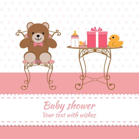 baby girl: Baby girl greeting card. Baby shower