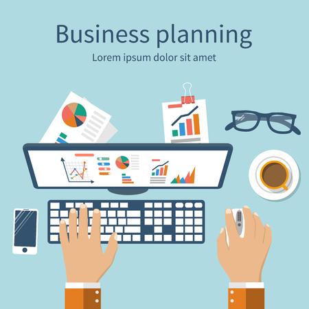 実業家は、彼の職場での金融統計を分析します。ビジネス コンセプトです。 フラット デザイン、ベクトル。