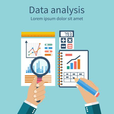 Analyse van de concept in de platte design. Procesonderzoek financiële groei, grafiek statistieken, data-analyse, zakelijk document, markt, strategische, jaarverslagen. Development Planning. Vector