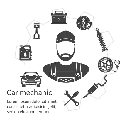 service man: Car mechanic, icons tools and spare parts, concept. Repair machines, equipment. Car service concept. Vector illustration. Auto mechanic icon. Repair car design. Black icons on white background