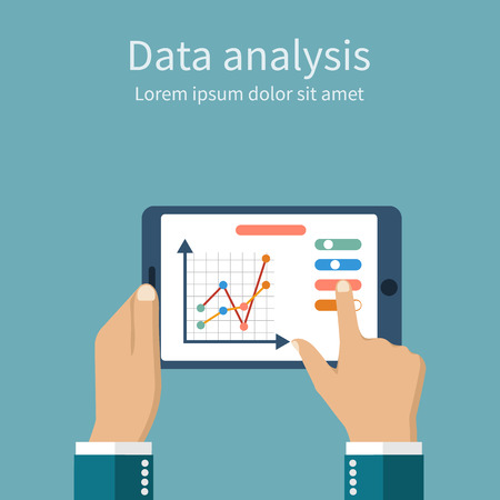 Businessman hands holding a tablet with financial chart and graph. Data analysis.  Financial analysis. Business strategy planning. Business concept. Analysis action. Vector illustration, flat style.