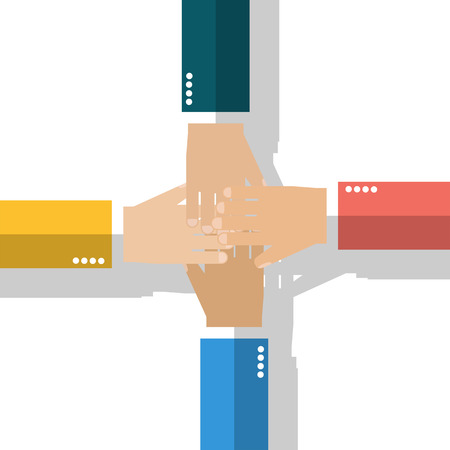 togetherness: Symbol of cooperation, partnership, association, friendship, unity, togetherness. Joined. Togetherness concept. Team businessman connection hands in a sign of unity. Vector illustration, flat style. Illustration