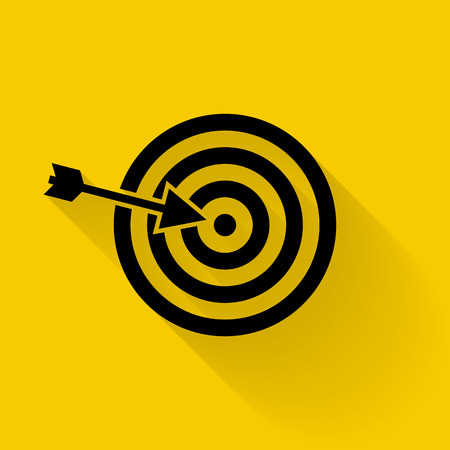 Target icon vector. Targeting, vector, arrow, objective, darts. Black icon isolated on yellow background with shadow.