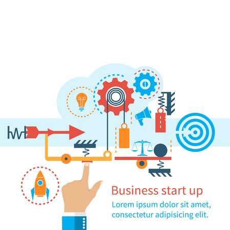 startup: Start up new business project. Flat design, vector illustration. Start up business concept. Icons and symbols of business planning, strategy and start-up. The mechanism of start-up business