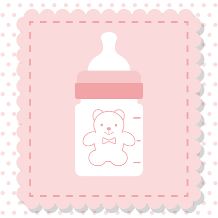 child care: Icon baby bottle of milk, vector. Plastic, rubber bottle isolated for baby food. Baby shower. Child care. Illustration