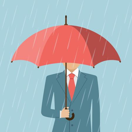 protect safety: Businessman holding an umbrella. Man standing in rain. Heavy rain, rain, storm. Modern man a stylish suit with elegant umbrella. Vector Illustration