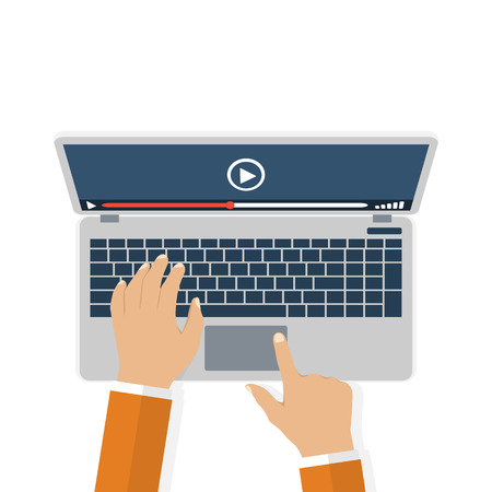 watch video: Hands on keyboard laptop. Watch video. Flat design, vector. Video streaming concept. Video player on the display. Icon stream video tv,  web. Modern technologies Illustration