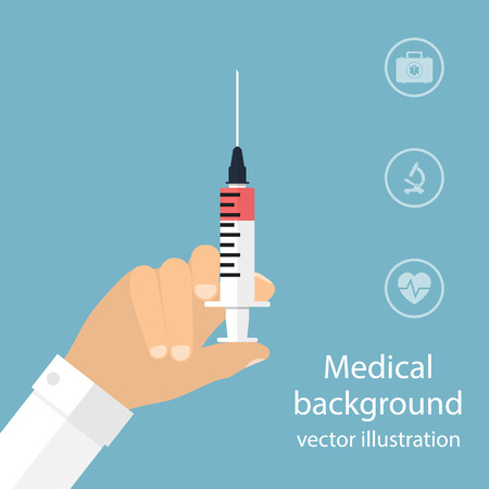 syringe in doctor hand. flat design. vector illustration for web and mobile app. medical background. Stock Illustratie