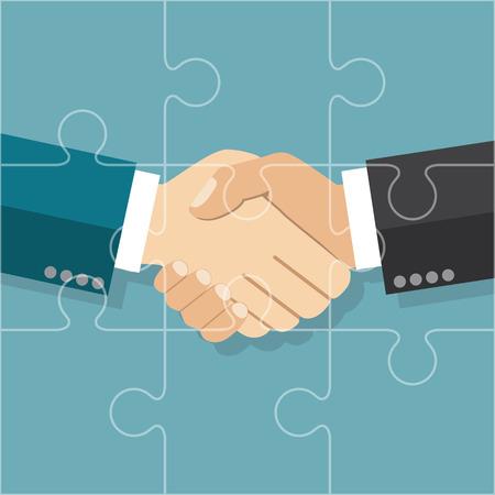 stretta di mano: Accordo d'affari stretta di mano. Illustrazione vettoriale stile piatto. scambiarsi una stretta di mano. Simbolo di una transazione di successo. puzzle di Partnership. concetto di partenariato.