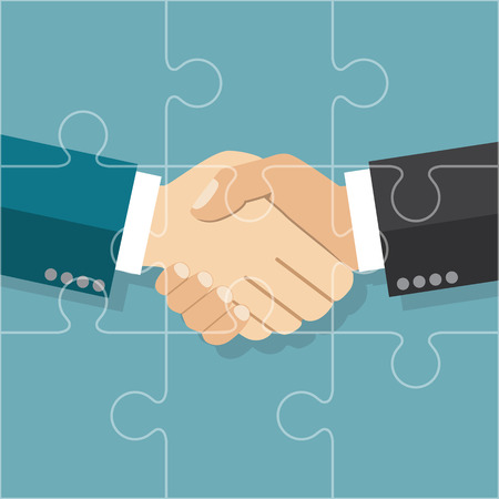 hands work: Handshake businessman agreement. Vector illustration flat style. shaking hands. Symbol of a successful transaction. Partnership puzzle. Partnership concept.
