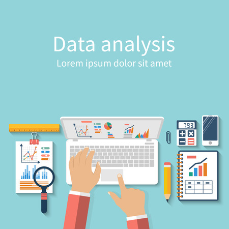 Businessman with laptop analyzes data. Analysis concept, flat design. Process research financial growth, statistics, data analysis, document,  market, strategic, report. Development Planning. Vector Vettoriali