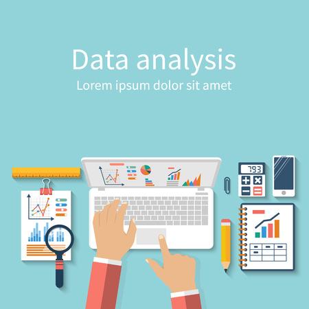 Zakenman met laptop analyseert data. Analyse concept, plat design. Procesonderzoek financiële groei, statistiek, data-analyse, document, markt, strategische, rapport. Development Planning. Vector Vector Illustratie
