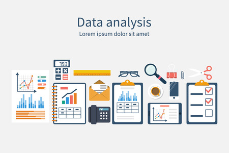 Analysis of concept in flat design. Process research financial growth, graph statistics, data analysis, business document,  market, strategic. Development. Set of elements for business planning. Vector