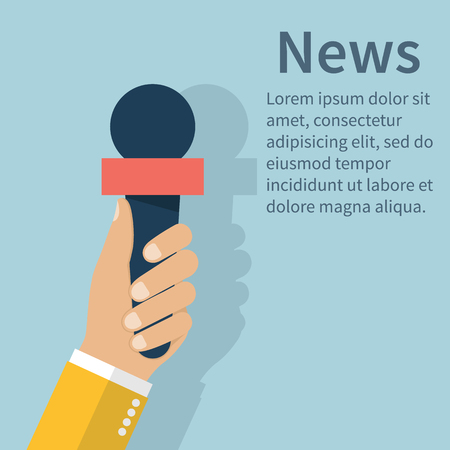 interviewer: Journalist holding microphone. Journalism concept . Live news template. Interview,  news, reporter, press, isolated, interviewer, media, paparazzi. Vector.