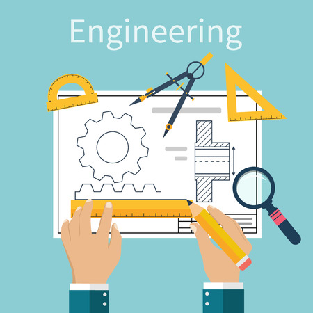engineering tools: Engineer working on blueprint. Engineering drawing, technical scheme. Sketching gear, project. Engineer Designer in project. Drawings for production, engineering, manufacturing processes. Vector, flat Illustration