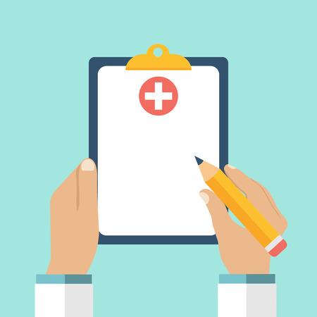 그의 손 의사의 클립 보드. 의사는 클립 보드에 메모를 사용합니다. 클립 보드, 손, 펜. 의료 보고서, 의료 배경. 벡터, 평면 디자인. 환자 치료. 빈 클립 보드, 템플릿입니다.