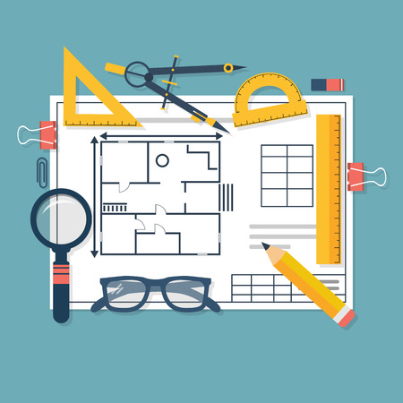 architect tools: Architectural blueprints and drawing tools. Workplace of architect. Draft plan of building house. Vector, flat. Drawing, ruler, compass, protractor, magnifying glass, violin.