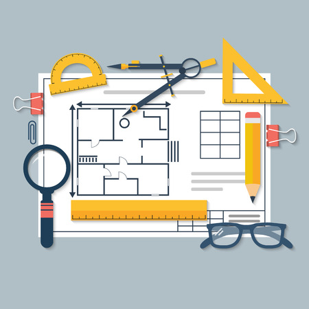 Architectural blueprints and drawing tools. Workplace of architect. Draft plan of building house. Vector, flat. Drawing, ruler, compass, protractor, magnifying glass, violin. Vector Illustration