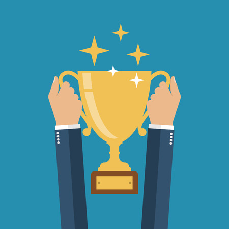 victory winner: Winning cup in his hands. Symbol of success, winning, championship. Gold cup in hand. Trophy.  Golden bowl. Winner. Flat design vector illustration. leadership concept.