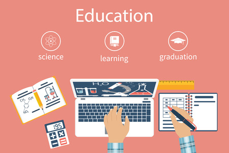 e work: Student at table. Student learns, studying. Concept distance education, e-learning, study process. Infographics training. Learning Sciences. Chemistry, Mathematics. Flat design vector. Homework.