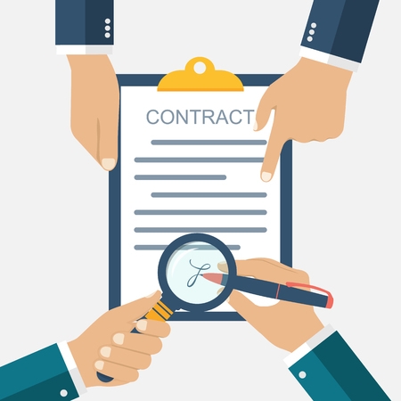 signing: Signing of a treaty business contract. Flat design vector illustration. Agreement. Businessman signs a contract. Inspection the legal document. Contract in hands. Successful deal, meeting.