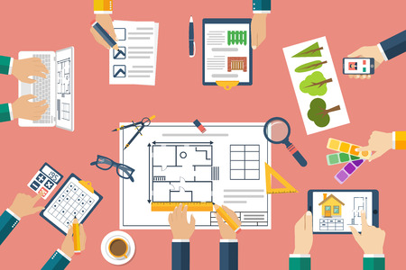 architectural team: Team of architects working on a project. Architects discussing plans. Hands of architects working on blueprints. Teamwork, brainstorming. Work Desk designers. Vector, flat. Planning construction. Illustration