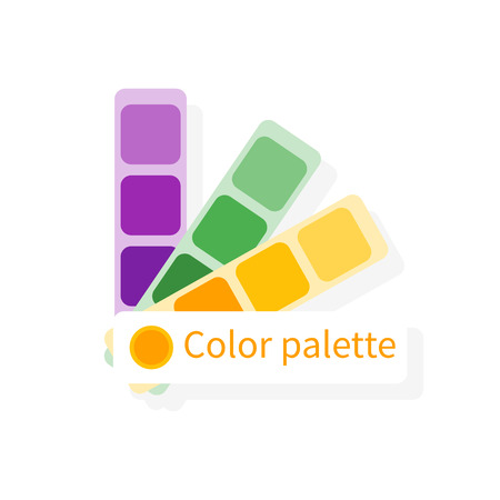 color swatches: Color swatch, color guide. Vector colorful icon, flat design. Catalog, color palette. Space for text. Can be used as logo, icon, design element for web and mobile applications.